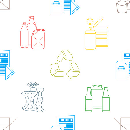 hazardous waste: vector colored outline design waste colored paper plastic battery metal glass organic paper hazardous icons decoration seamless pattern white background
