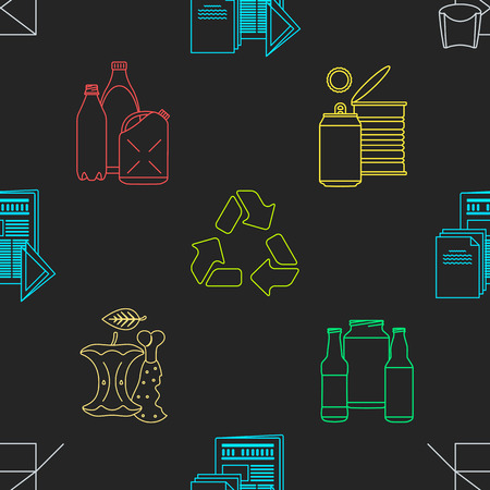 hazardous waste: vector colored outline design waste colored paper plastic battery metal glass organic paper hazardous icons decoration seamless pattern black background