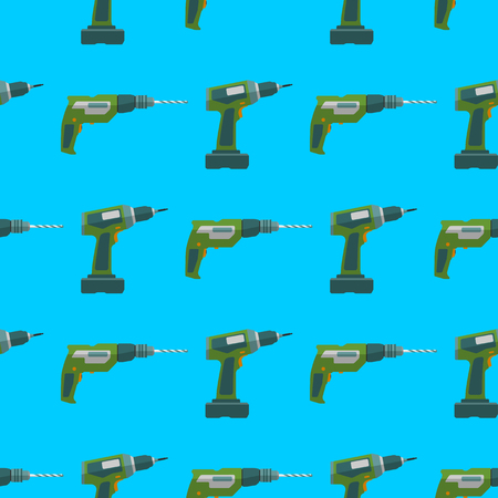remodel: vector colorful flat design electric drill and screwdriver devices electrical instruments tools home remodel decoration seamless pattern background