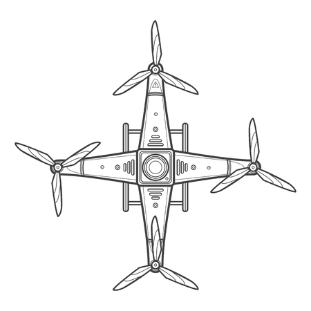 propellers: vector dark contour design quadcopter drone three blades propellers top view isolated illustration white background