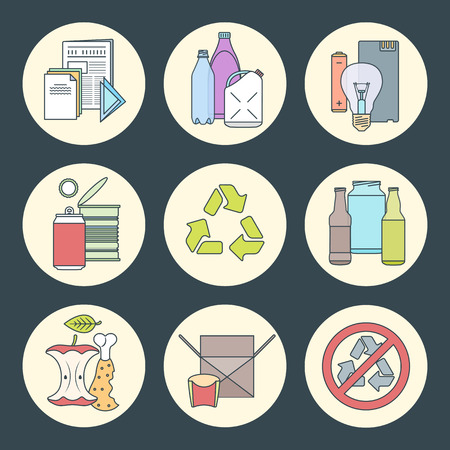 hazardous waste: vector outline design waste colored groups paper plastic battery metal glass organic paper hazardous round icons set for separate collection and segregation recycle garbage dark background