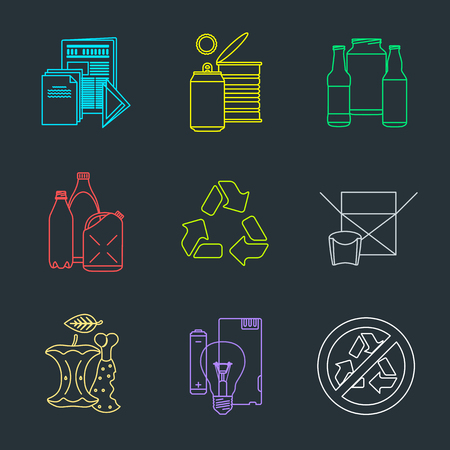 hazardous metals: vector colored outline design waste colored groups paper plastic battery metal glass organic paper hazardous icons set for separate collection and segregation recycle garbage black background Illustration