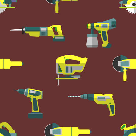 home remodel: vector colorful flat design electrical tools home remodel decoration seamless pattern background