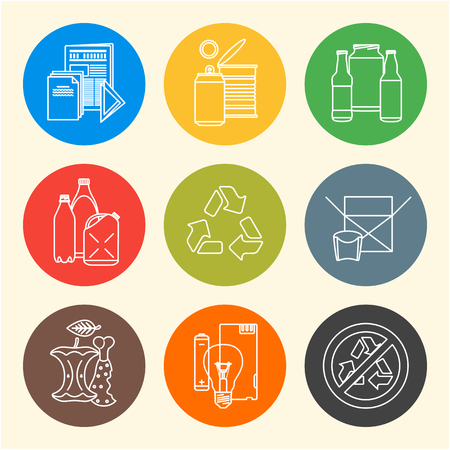 hazardous waste: vector outline design waste colored groups paper plastic battery metal glass organic paper hazardous round icons set for separate collection and segregation recycle garbage light background
