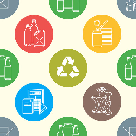hazardous waste: vector colored outline design waste colored paper plastic battery metal glass organic paper hazardous round icons decoration seamless pattern light background