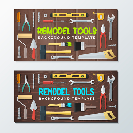 remodel: vector colorful flat design various house remodel construction tools isolated collection wood textured background banner templates