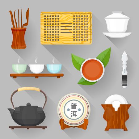 vector colorful flat design tea ceremony tools, saucer stand, cup of tea with leaves, teapot, tea tray, gaiwan, pure tea pack shaded illustration collection isolated dark background Illustration