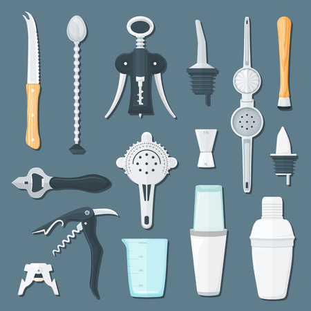 bar tool set: vector colorful flat design bartender equipment sommelier corkscrew, openers, squeezer, knife, mixing spoon, boston cobbler shakers, champagne , measuring glass, strainer, dispensers, jigger isolated shaded illustration collection gray background