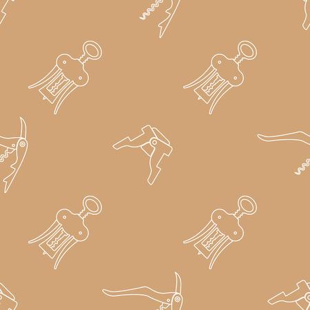 sommelier: vector light color outline design barman tools sommelier knife champagne bottle  wing corkscrew isolated brown gold background deco seamless pattern Illustration