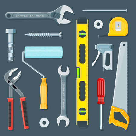 remodel: vector colorful flat design various house remodel construction tools and equipment illustration collection isolated dark background Illustration