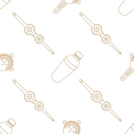 cobbler: vector brown gold color outline design barman tools cobbler shaker squeezer isolated white background deco seamless pattern Illustration