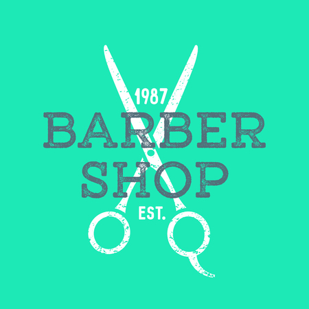 barber scissors: vector colored vintage barber shop hairdresser  with scissors grunge textured sign isolated green background Illustration