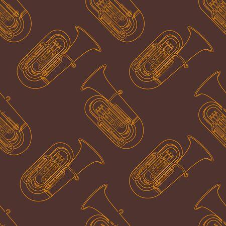 tuba: vector monochrome orange gold tuba decoration seamless pattern isolated brown background