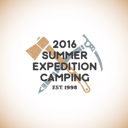 expedition: vector colored vintage expedition camping  with tourist axe and mountaineering ice axe grunge textured sign isolated light background