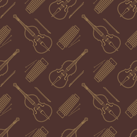 contrabass: vector monochrome gold contrabass and xylophone decoration seamless pattern isolated brown  background Illustration