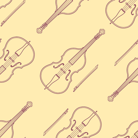 contrabass: vector monochrome brown contrabass decoration seamless pattern isolated yellow background Illustration