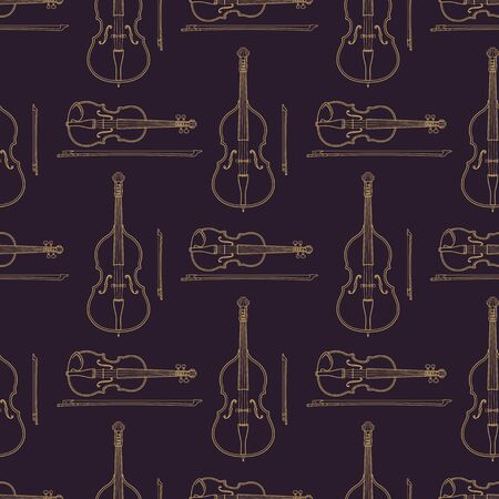 contrabass: vector monochrome gold fiddle and contrabass decoration seamless pattern isolated dark background