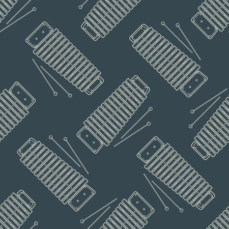 isolated on gray: vector monochrome white xylophone decoration seamless pattern isolated gray background