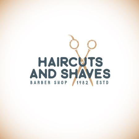 barber scissors: vector colored vintage barber shop hairdresser  with scissors grange textured sign isolated light background
