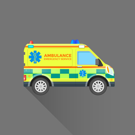 emergency vehicle: vector yellow green color flat design ambulance emergency vehicle paramedic sign illustration isolated background
