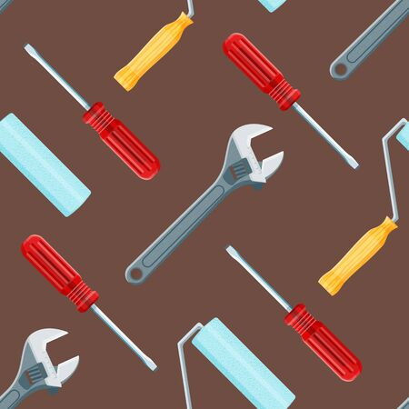 remodel: vector colored flat design house remodel tools screwdriver, paint roller and adjustable wrench decorative seamless pattern isolated dark background