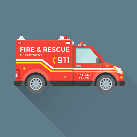 emergency vehicle: vector red yellow color flat design fire department rescue emergency vehicle illustration isolated background