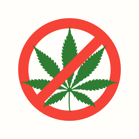 strikethrough: vector red green colors strikethrough cannabis leaf marijuana prohibited sign isolated light background