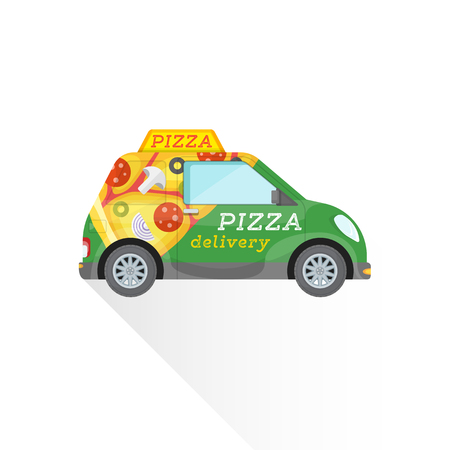 vector green body car with pizza slice advertising flat design pizzeria fast delivery vehicle illustration isolated background