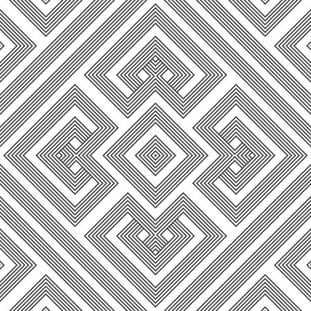 vector black colour monochrome geometric knotted decoration seamless pattern Illustration