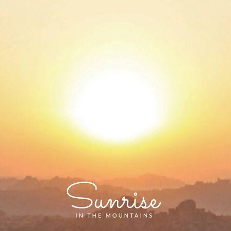 sunrise sky: vector orange coloured mountains sunrise sky blurred realistic landscape background