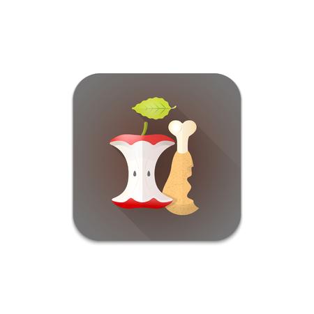 aislado del vector colorido diseño plano orgánico hoja de la manzana de pollo pierna de residuos de reciclaje de chatarra ilustración sombra gris icono fondo blanco