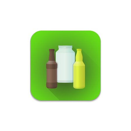 segregation: vector colourful flat design glass recycle waste bottles jar illustration green icon shadow isolated white background Illustration