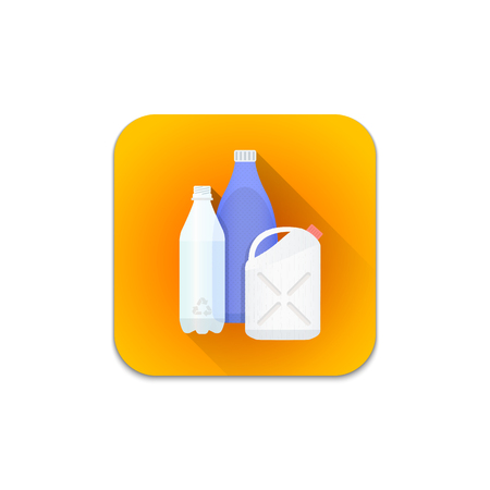 segregation: vector colourful flat design plastic recycle waste PET bottle jerrycan flask illustration orange icon shadow isolated white background