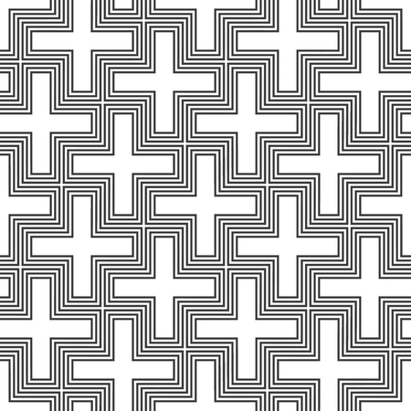 swastika: vector monochrome design hinduism swastika ornament seamless pattern white isolated background