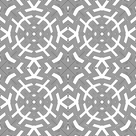 arte optico: vector black colour abstract optical art illusion design decoration seamless pattern isolated white background Vectores