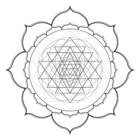 sri yantra: vector contour monochrome design mandala sacred geometry illustration sri yantra lotus isolated white background