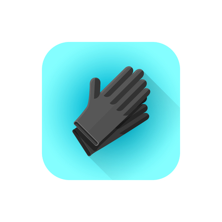 vector colorful flat design black latex tattoo sterile disposable gloves illustration rounded square icon with shadow Illustration