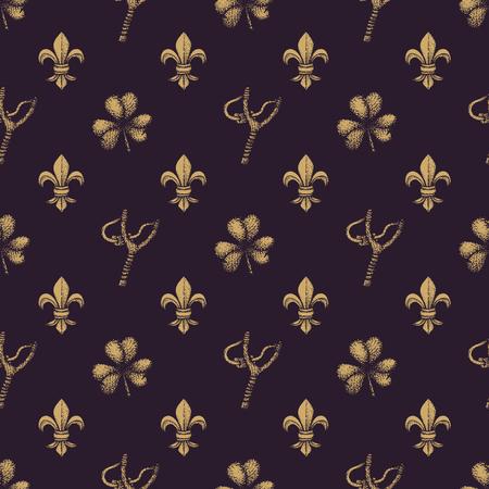 slingshot: vector monochrome gold hand drawn engraving shamrock slingshot Fleur De Lis illustration on dark brown isolated background deco seamless pattern