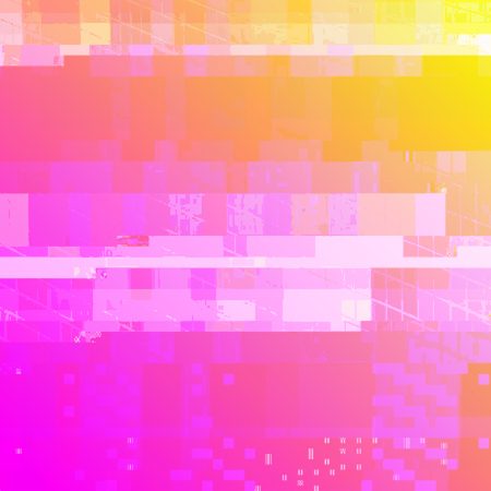 vector vibrant pink yellow color modern abstract digital glitch graphic design damaged data file background Illustration