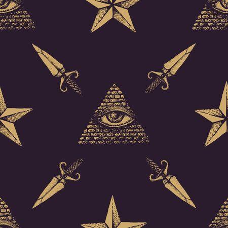 providence: vector monochrome gold hand drawn engraving eye of providence dagger star illustration on dark brown isolated background deco seamless pattern Illustration