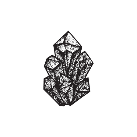 vibrations: vector black work tattoo dot art hand drawn engraving style crystals cluster illustration isolated white background