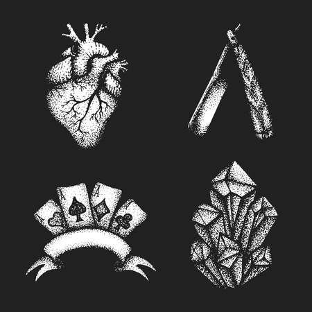 cutthroat: vector white monochrome blackwork style tattoo dot art hand drawn engraving style anatomical heart cutthroat straight razor four aces blank ribbon crystals illustrations set isolated black background Illustration