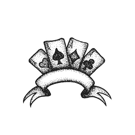 vector black work tattoo dot art hand drawn engraving style four aces suit of playing cards blank ribbon illustration isolated white background Illustration
