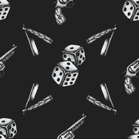 cutthroat: vector monochrome white color hand drawn engraving dice cutthroat straight razor revolver pistol illustration on black isolated background deco seamless pattern