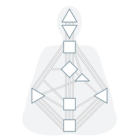 vector outline design monochrome human design body graph energy centers gates system blank template isolated white background  イラスト・ベクター素材