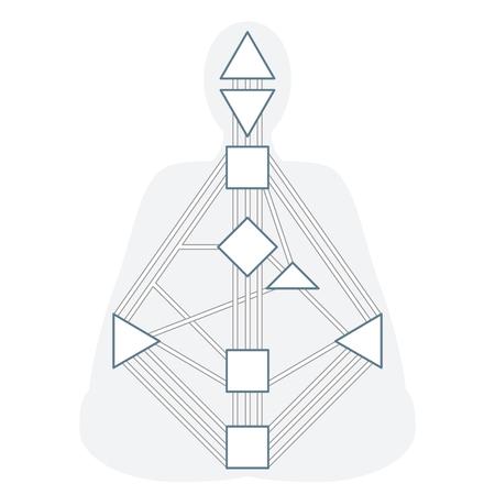 solar plexus: vector outline design monochrome human design body graph energy centers gates system blank template isolated white background Illustration