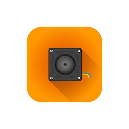 style vecteur plat design coloré caméra de surveillance cachée illustration orange, arrondi icône carré isolé fond blanc