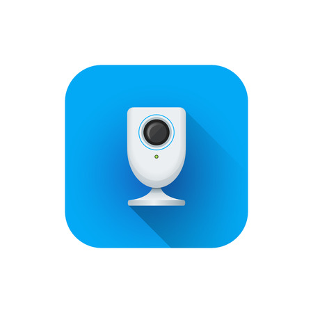 vector flat style colorful design indoor surveillance home web camera illustration blue rounded square icon isolated white background Illustration