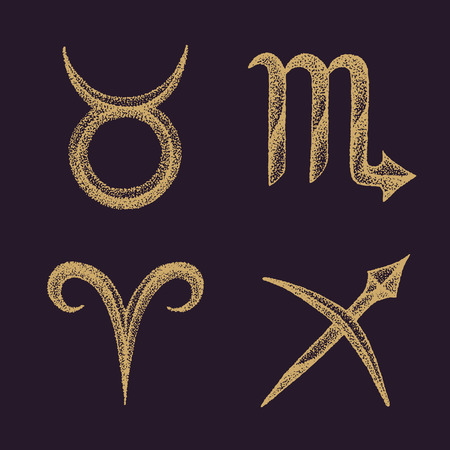 zodiacal symbol: vector dotwork design hand drawn engraving style gold color Taurus Scorpio Aries Sagittarius zodiac signs collection isolated dark brown background