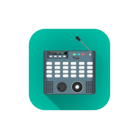 computerized: vector flat style colorful design surveillance security control panel illustration turquoise rounded square icon isolated white background
